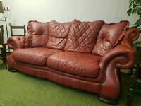 Absolutely stunning Italian Red leather Chesterfield pendragon 3 seater sofa
