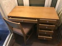 Solid light oak desk & chair £50.00