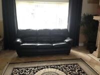 DFS 4 piece suite 2 & 3 seater sofa settee & 2 beanbag footstools black Italian quality leather