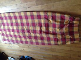 Long checked curtains for sale - fully lined, ideal for keeping out draughts!