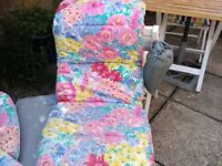 Outdoor chair high-backed covers, floral multi-colour (6)