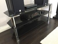 Stunning 3 Tier Black Glass TV Stand - VGC