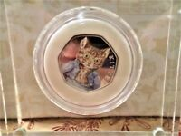 2017 BEATRIX POTTER TOM KITTEN 50 PENCE .925 STERLING SILVER COLOURED PROOF BRAND NEW COIN