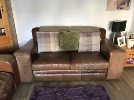 Halo Distressed Brown Leather Sofas