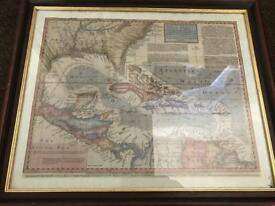 Framed Accurate Map of the West Indies