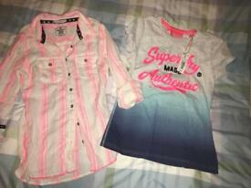 2 genuine superdry ladies shirt and top/ shirt. Small. New. Xmas gift