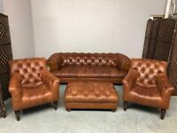 John Lewis Drummond Chesterfield 4 Seater Sofa, Pair Stirling Chairs + Footstool