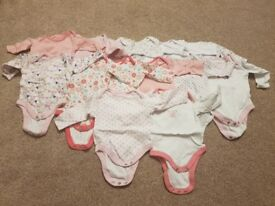 0-3 Months Girl's Long Sleeved Vests x14