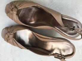 NEXT leather peep toe wedges size 8(42)