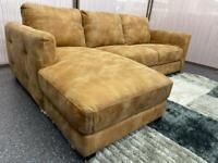 Tan Nubuck leather left hand facing chaise corner sofa