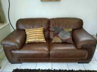 Brown leather Sofa (free delivery)