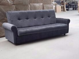 ❋❋ BRAND NEW ❋❋ LARGE CLICK CLACK SOFA BED FABRIC WITH STORAGE 3 SEATER AVAILABLE NOW