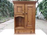 Pine Wall Unit with Cupboards and Shelving for Bathroom or Kitchen