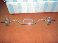 Chrome Curl Bar With Chrome Weights