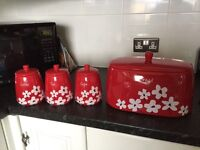 Red floral bread bin and cannisters