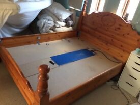 Solid pine waterbed frame and heater ( king size ) mattress not included
