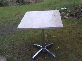 Garden / patio / conservatory table with peach & grey marble top