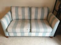 Free two seater Next sofa blue and cream striped
