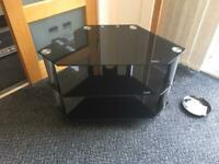 Glass TV stand 3 shelves glasses size 80x45x53cm used v.good condition £10