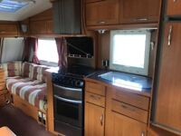 BESSACAR Cameo 525sl 3 birth caravan with full awning, 2 bed compartment and electric motor mover