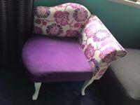 Purple soft velvet corner chair. Excellent condition makes a strong statement