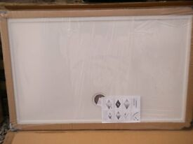 Slimstone 1400x900 Shower Tray - White - and chrome waste