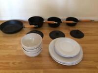 Cast iron pan set & 12 pcs white dinner set