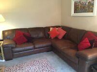 Brown leather corner sofa - John Lewis 2 years old