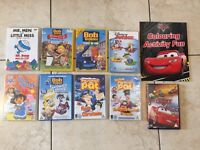 9 Children's DVD's, Including Disney Cars Film & Book