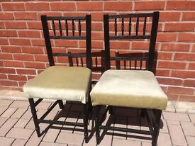 PAIR OF EDWARDIAN BEDROOM CHAIRS WITH PADDED SEATS