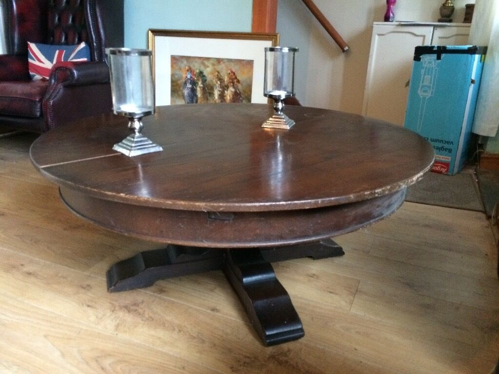 Large circle coffee table. Few marks hence price. Collection only.