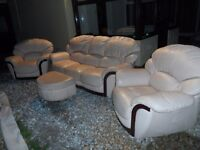 Leather Sofa Three Piece Set 3 Seater & 2 Single Cozy & Comfy Armchairs Wood on Armrest & base