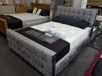 Double crushed velvet bed frame Solid UK manufactured