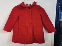 ZARA Girls Red Coat Wool Blend 24-36 Months 94CM Excellent Condition