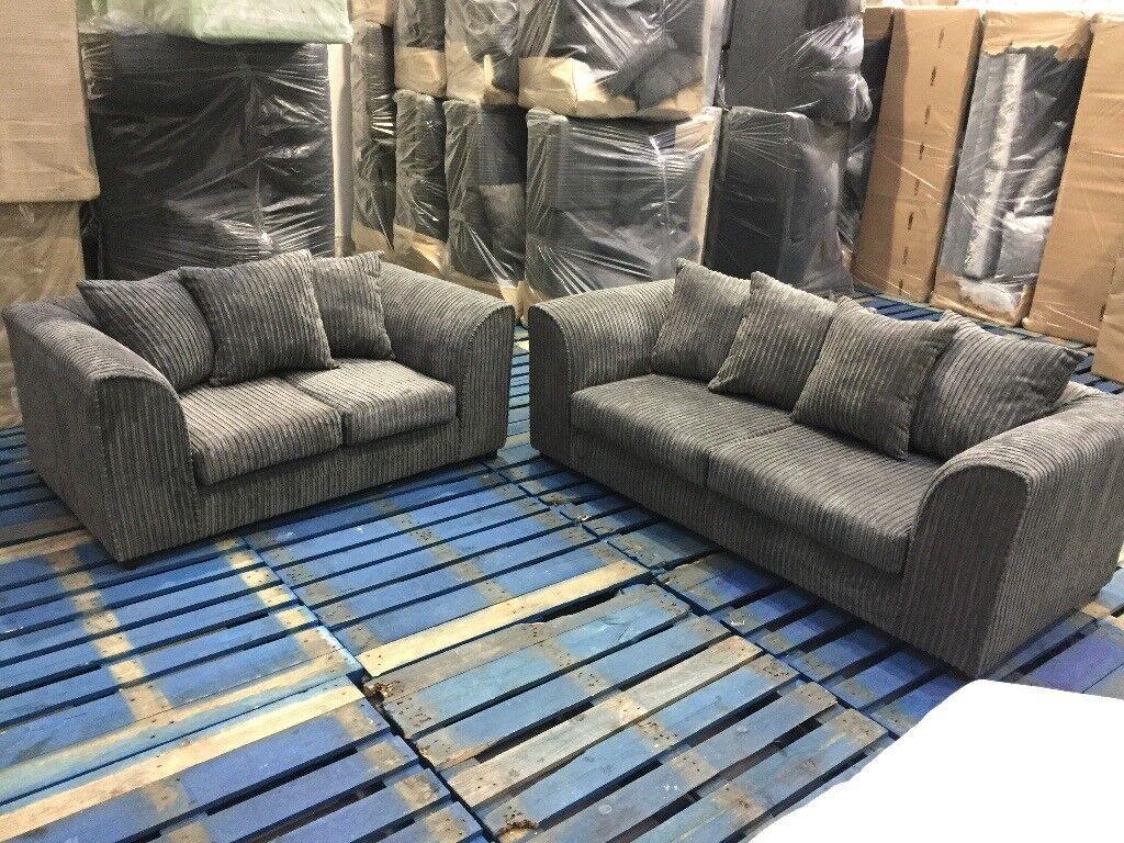 Brand New Jumbo Cord Grey Fabric 3 Seater 2 Seater Sofa