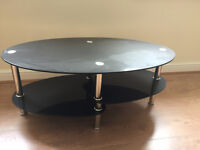 Black glass and chrome TV table *delivery available*
