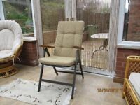 SET OF 6 METAL RECLINING AND FOLDING GAEDEN CHAIRS