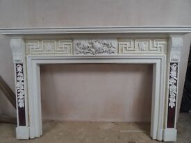 Reclaimed Ornate Large 7.5 ft Wooden Fireplace