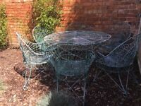 Vintage wire garden table 6 chairs