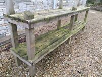 HEAVY DUTY LARGE OUTDOOR TANALISED SHELVING GREAT FOR GARDENING POTS OR FOR LOG STORAGE