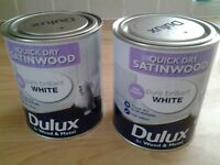Two 750 mls of dulux quick dry satinwood brilliant white. Cost £15 a tin bargain £15 for the two.