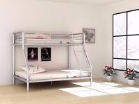 **CHEAPEST PRICE OFFERED**Trio Sleeper Metal Bunk Bed Frame With 2 x Mattresses