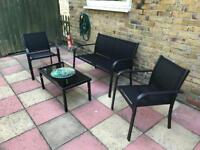 Black garden seating set with table
