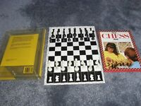 STAUNTON STYLE CHESS SET WITH FIRST CHESS BOOK AND BOARD IN STORAGE BOX