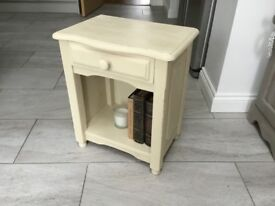 Pine Bedside table with drawer painted in Original -Annie Sloan