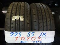 MATCHING SET 225 55 18 TOYOS 8MM TREAD £80 PAIR £150 SET SUPP & FITD £150 SET (loads more av}
