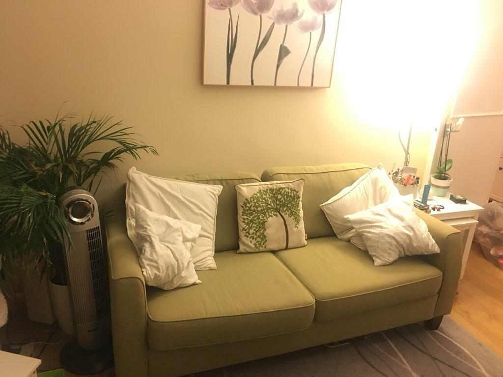 Light Green 3 Seater Sofa With Removable Washable Covers In