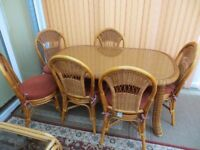 Wicker table and 6 chairs