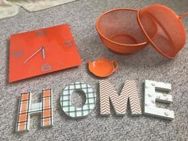 Orange kitchen accessories... clock, fruit bowl etc