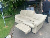 Cream leather 3 seat recliner sofa